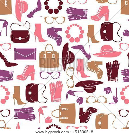 Vector seamless of fashion objects and trendy accessories
