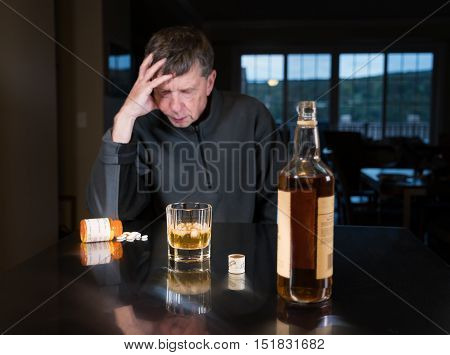 Senior Caucasian Adult Man With Depression