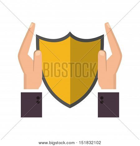 flat design shield and sheltering hands icon vector illustration
