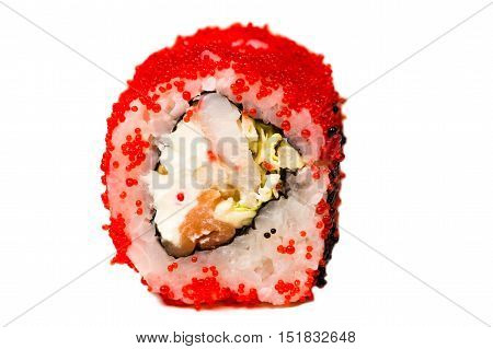beautiful roll with red caviar closeup isolated on wjite background