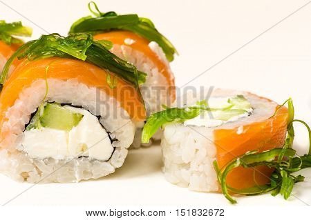 delicious rolls with seaweed close up isolated