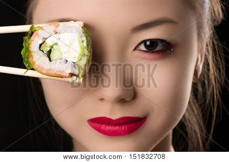 beautiful Korean girl with roll instead eyes