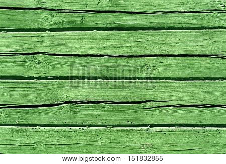 Green Color Log House Wall.