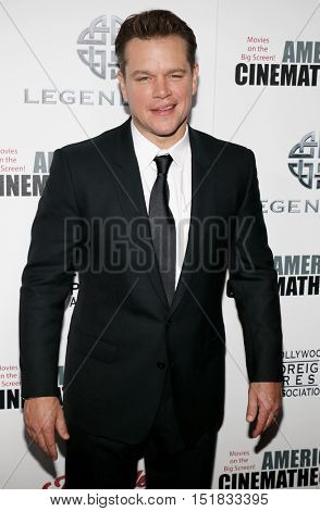 Matt Damon at the 30th Annual American Cinematheque Awards Gala held at the Beverly Hilton Hotel in Beverly Hills, USA on October 14, 2016.