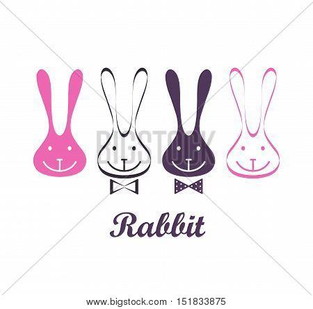 Vector rabbit symbols. Set of rabbits icons.