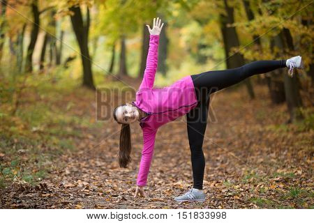 Sporty beautiful happy young woman practicing yoga, standing in Ardha Chandrasana posture, Half Moon Pose, working out outdoor on autumn day wearing sportswear sweatshirt. Side view portrait
