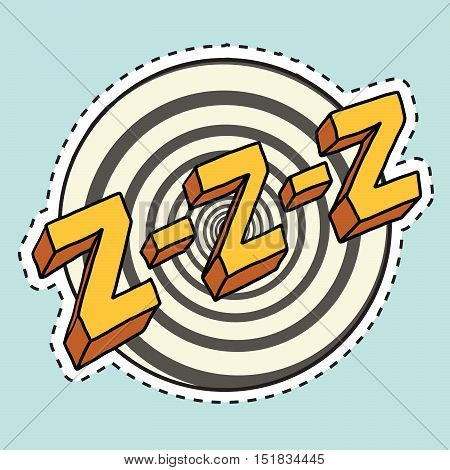 Zzz sound sleep and zumm, pop art comic illustration. Label sticker cutting contour