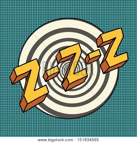 Zzz sound sleep and zumm, pop art comic illustration