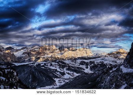 Sunset On The Dolomites Mountain