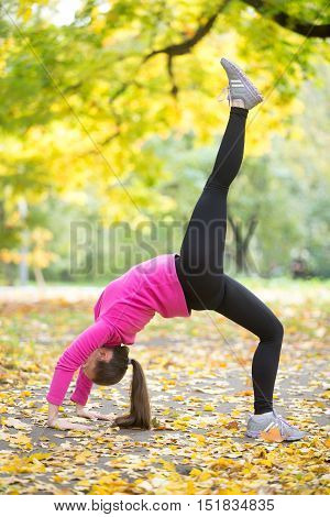 Beautiful young sport woman practicing yoga, doing Bridge Pose variation, standing in One-legged Upward Bow Posture, Eka Pada Urdhva Dhanurasana, working out outdoor on autumn day wearing sportswear