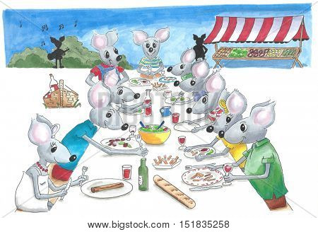 Many mice eating at a party with music