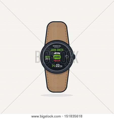Digital wristwatch with leather band. Portable gadget smart watch concept with digital display and phone functions. Incoming call answer button.