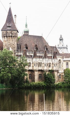 Beautiful Vajdahunyad castle in Budapest Hungary. Cultural heritage. Travel destination. Architectural theme. Famous place. Tourism theme.