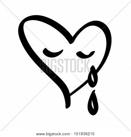Crying black heart shapes with teardrops. vector illustration.
