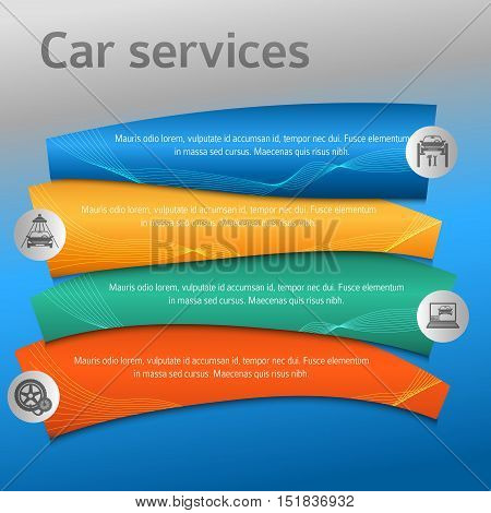 Car service business presentation template on steel background. Vector illustration EPS 10 for info-graphics number options web site page layout firm automobile repair