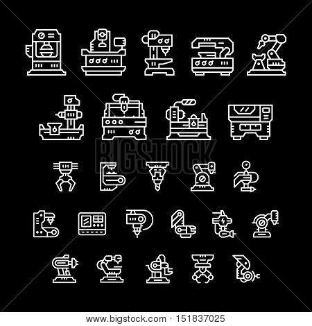 Set line icons of machine tool, robotic industry isolated on black. Vector illustration