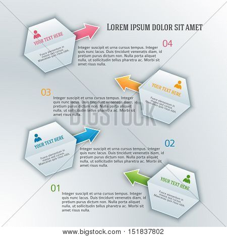 Abstract arrows background corporate concepts with template infographics. Vector illustration EPS 10 for business workflow layout web banner template page magazine brochure design elements