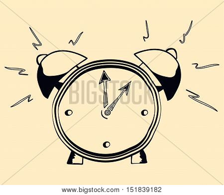 Outline artwork of ringing alarm clock with lightnings above it