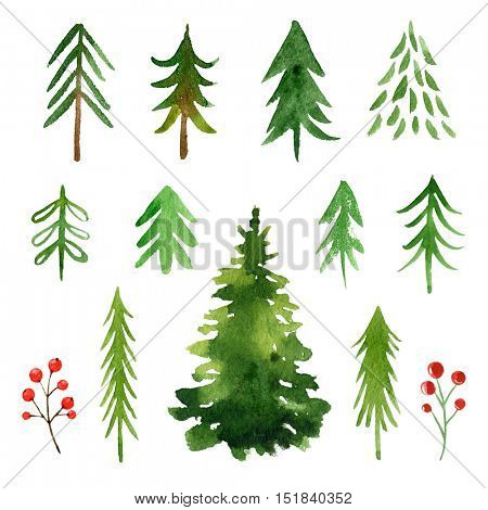 Watercolor Christmas trees collection