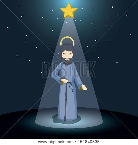 Joseph cartoon icon. Holy family and merry christmas season theme. Colorful design. Vector illustration