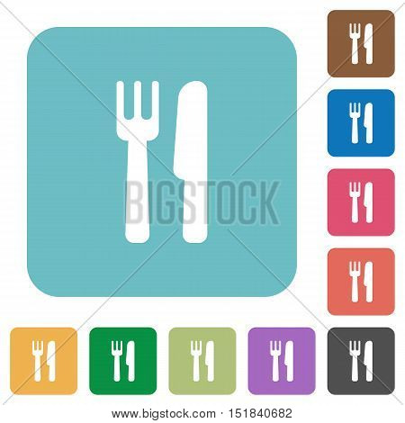 Flat cutlery icons on rounded square color backgrounds.