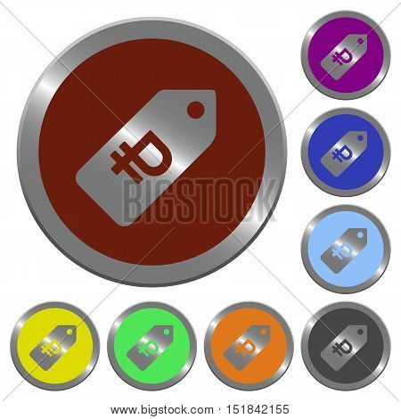 Set of color glossy coin-like Ruble price label buttons