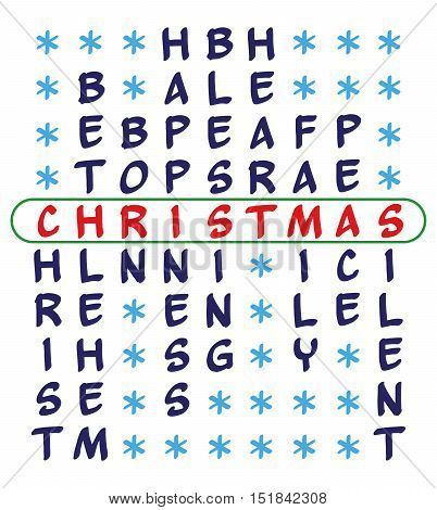 Christmas background. Crossword puzzle for the word Christmas and related words - Christ Bethlehem Born Happiness Blessing Heart Family Peace Silent. Isolated on white background.