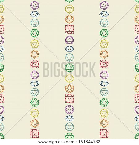 Seven chakras icons seamless pattern.Yogameditationreikiayurveda and buddhism vector colored simbol.Abstract geometric hinduism background.7 human energy centers.Vector illustration.Color Wallpaper
