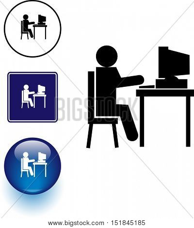 using a desktop computer symbol sign and button