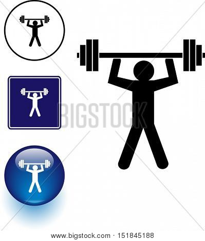 weight lifting symbol sign and button