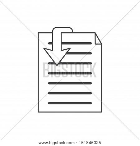 Document and arrow con. Data archive storage and organize theme. Isolated design. Vector illustration