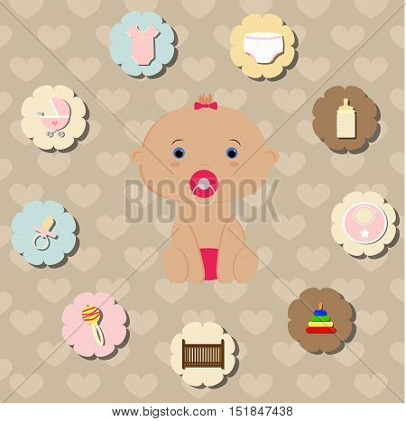 set of accessories for the care of a newborn baby. For girl. Template elements for decoration or greetings. Baby shower or arrival. Baby vector illustration