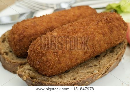 Traditional dutch lunch with deep fried croquettes