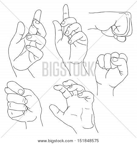 Hands set outline part 5. Fico, claw, fist, plea, up and others Lineart EPS10
