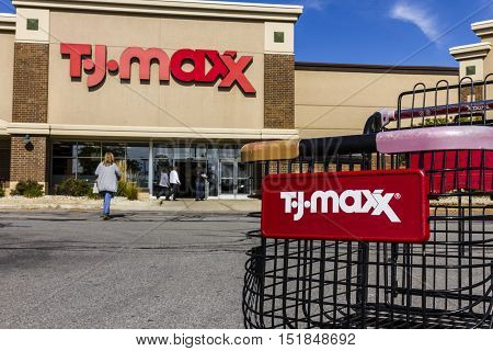 Kokomo - Circa October 2016: T.J. Maxx Retail Store Location. T.J Maxx is a discount retail chain featuring stylish brand-name apparel shoes and accessories V