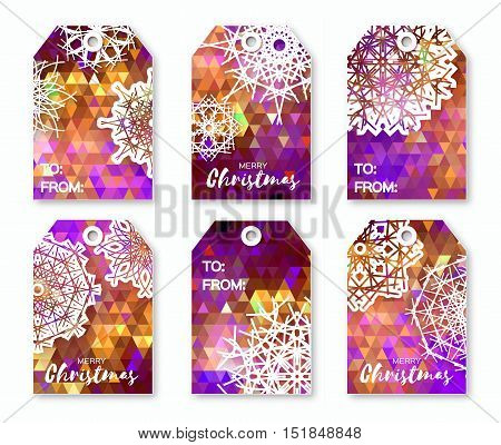 Christmas labels with origami snowflakes. Neon purple polygonal Festive collection. Ready-to-use gift tags. Xmas and New Year Set of 6 printable origami holiday label. Vector badge design illustration