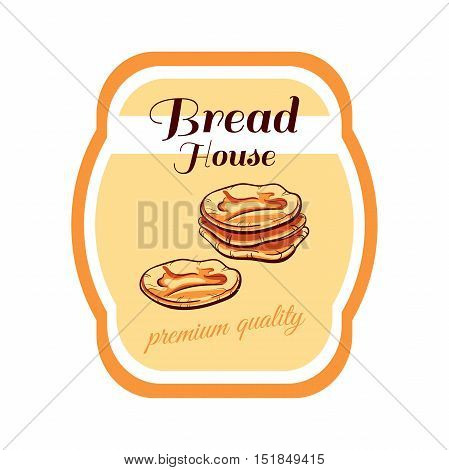Sticker with hand drawn pita bread isolated on white background. Can be used for design of bakery or breadshop. Vector illustration
