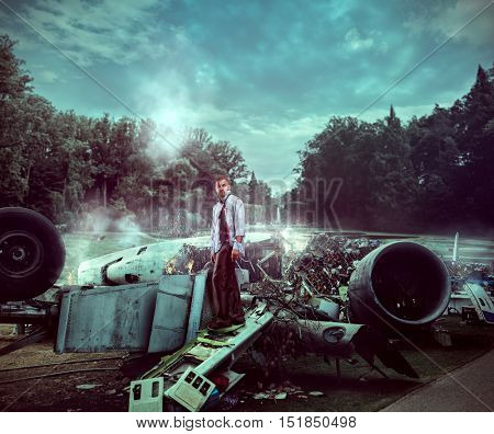 Man after wreckage