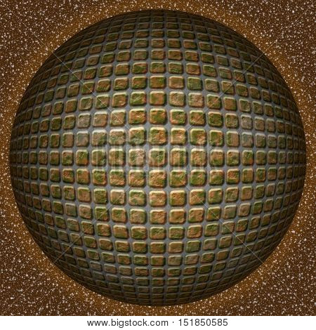 Abstract decorative brown sphere, ball - square 3D pattern