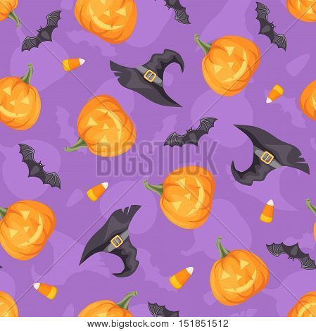 Vector Halloween seamless background with jack-o-lanterns, bats and witches hats on purple.