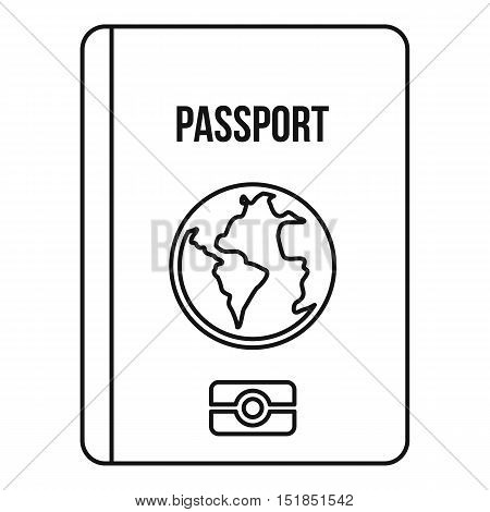 Passport icon. Outline illustration of passport vector icon for web