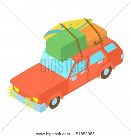 Red car with luggage and boxes icon. Cartoon illustration of car with luggage and boxes vector icon for web