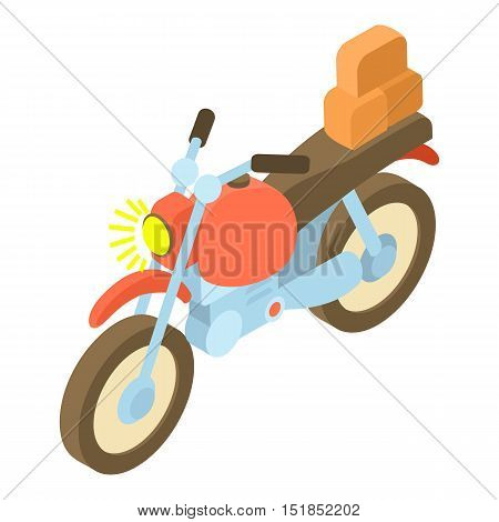 Motorcycle with cargo icon. Isometric 3d illustration of motorcycle with cargo vector icon for web