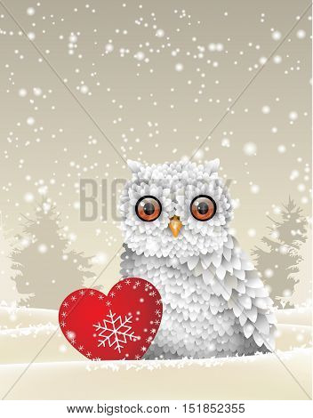 Christmas theme, cute white owl sitting in snow with red heart, in front of winter snowy forrest landscape, vector illustration, eps 10 with transparency