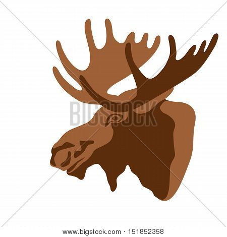 Moose head vector illustration style Flat profile