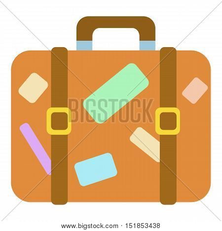 Travel suitcase with stickers icon. Cartoon illustration of suitcase with stickers vector icon for web