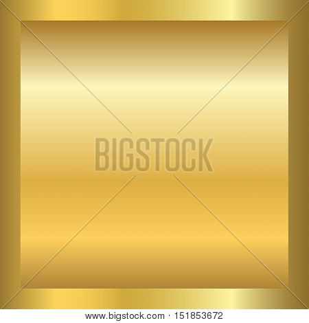 Gold texture in square golden frame. Gradient smooth material background. Textured bright metal light shiny. Metallic blank decoration pattern. Abstract art banner invitation. Vector Illustration