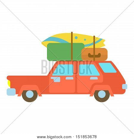 Red hatchback car with roof rack top cargo luggage icon. Cartoon illustration of hatchback vector icon for web
