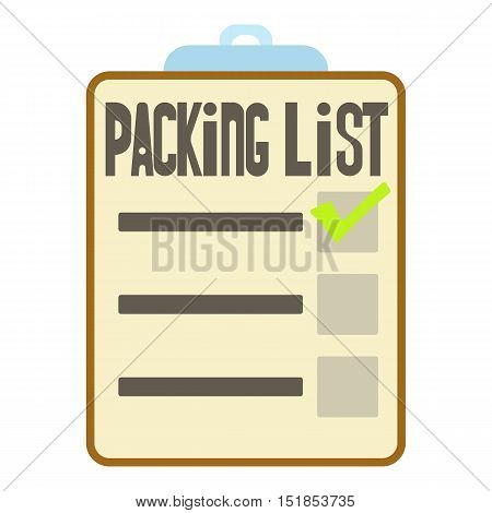 Clipboard with packing list icon. Cartoon illustration of packing list vector icon for web