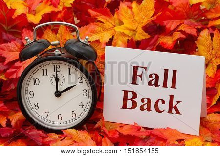 Daylight Savings Time Ends Some fall leaves black and white alarm clock and a blank greeting card with copy-space